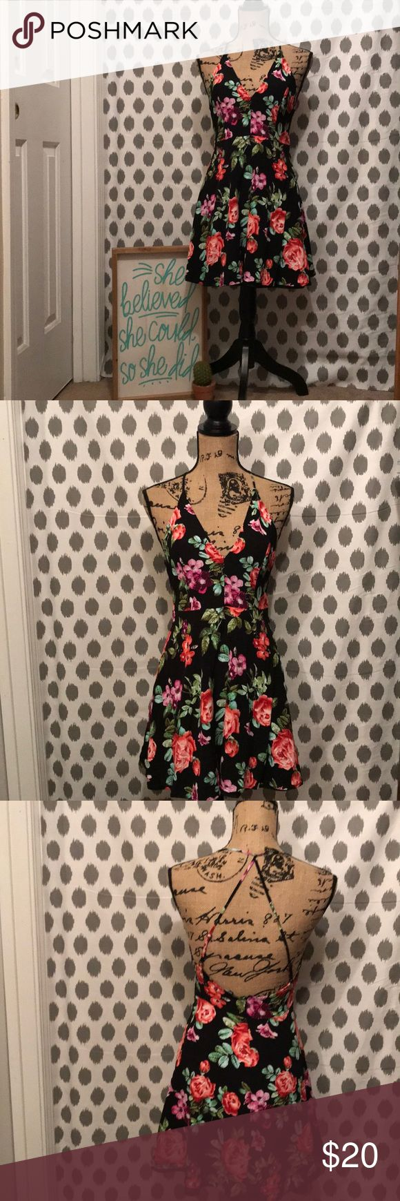 Forever 21 Spaghetti Strap Razor Back Mini Dress A Forever 21 colorful floral (rose, pansy & violet) print spaghetti strap/razor back mini shift dress.....just in time for all the Spring & Summer bar-b-ques, dates & girl's night out get together's. Forever 21 Dresses Mini