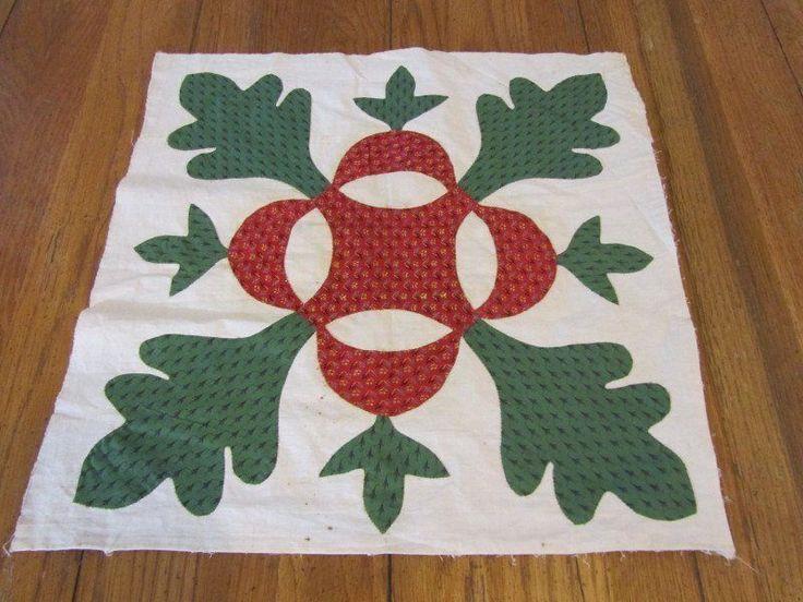 Antique Baltimore Album 1850s Applique QUILT Block Turkey Red Green #7