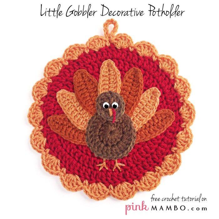 Crochet Little Gobbler Decorative Potholder Free Crochet Pattern from Pink Mambo