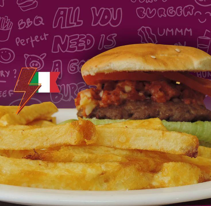 Si eres de los que ama los sabores del viejo continente, tenemos para ti esta irresistible Hamburguesa Rellena Italiana. ¡Te invitamos a probarla!