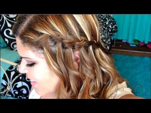 actually a good tutorial- her hands aren't in the way! Curly Hair W/ A Waterfall Braid!!! - Tutorial
