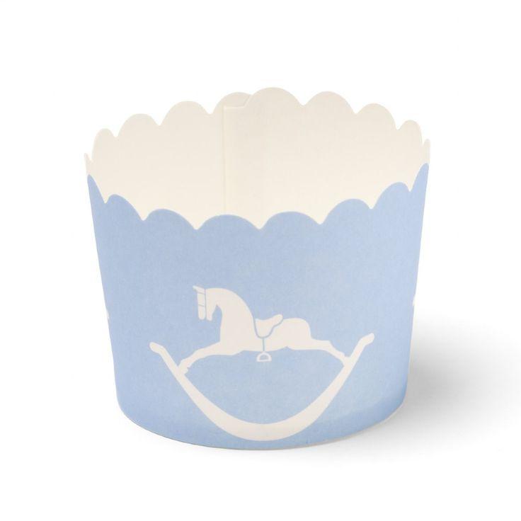 Pale Blue Rocking Horse Cupcake Baking Cups