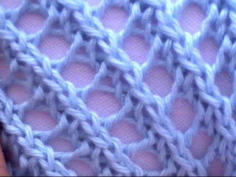 Como Tejer Encaje Diagonal-Diagonal Lace 2 Agujas (247) - YouTube