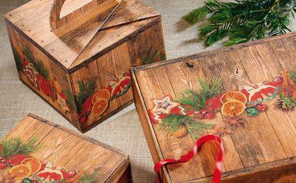 Geschenkboxen WEIHNACHTSMARKT aus recycelter Wellpappe