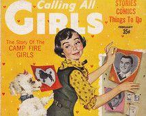Histoire du feu de camp-filles des années 1950 Vintage Magazine-appel toutes les filles - février 1957-Teen Magazine-Barbara Briggs-Sepia
