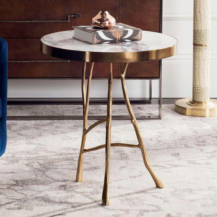 Safavieh Couture Amparo Bianco Lilac Marble End Table, White