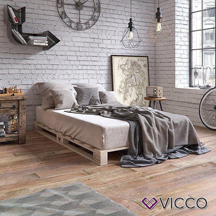 VICCO Palettenbett Bett Holz Massivholzbett 90 100 120 140 160 180 200 X  200cm, Palettenmöbel