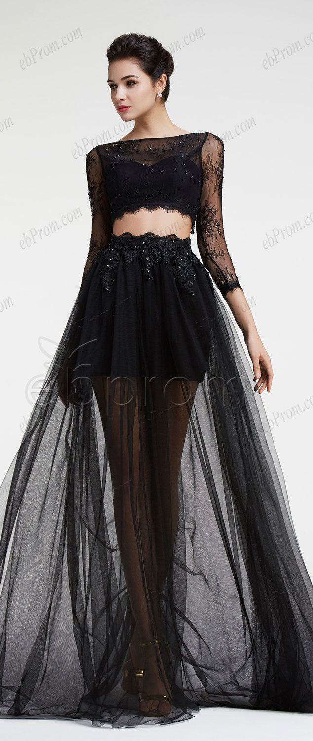 black dress prom tulle and lace off shoulder two pieces prom