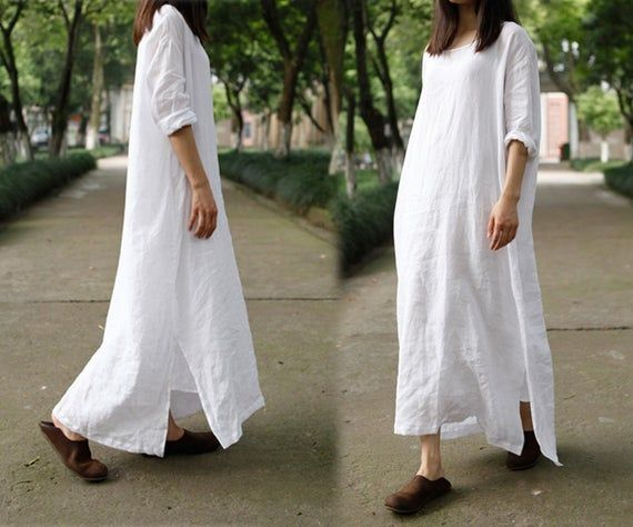 200 Oversized High Counted Washed French Linen Dress White Long Dress Caftan Maxi Dress Tunic Robe Maternity Plus Size Clothing Vestidos De Lino Vestidos Largos Blancos Estilos Para Tallas Grandes