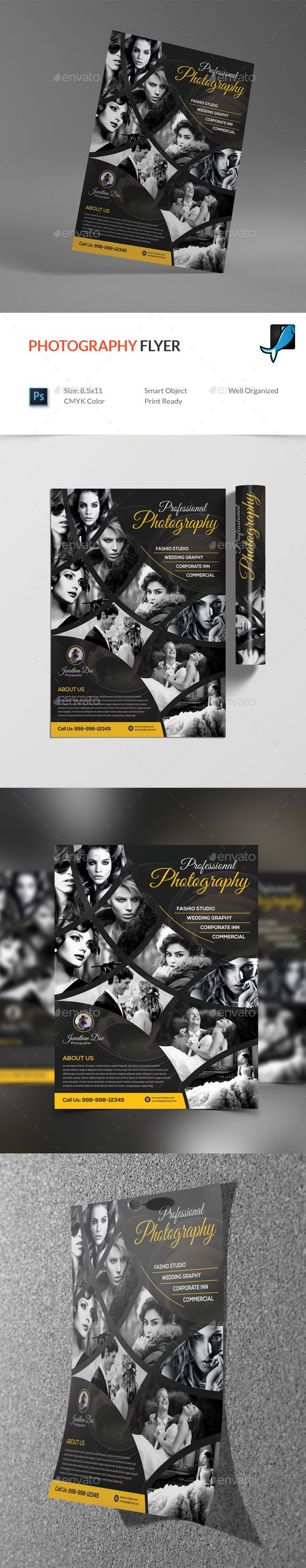 #Photography #Flyer - #Corporate Flyers Download here:  https://graphicriver.net/item/photography-flyer/19524592?ref=alena994