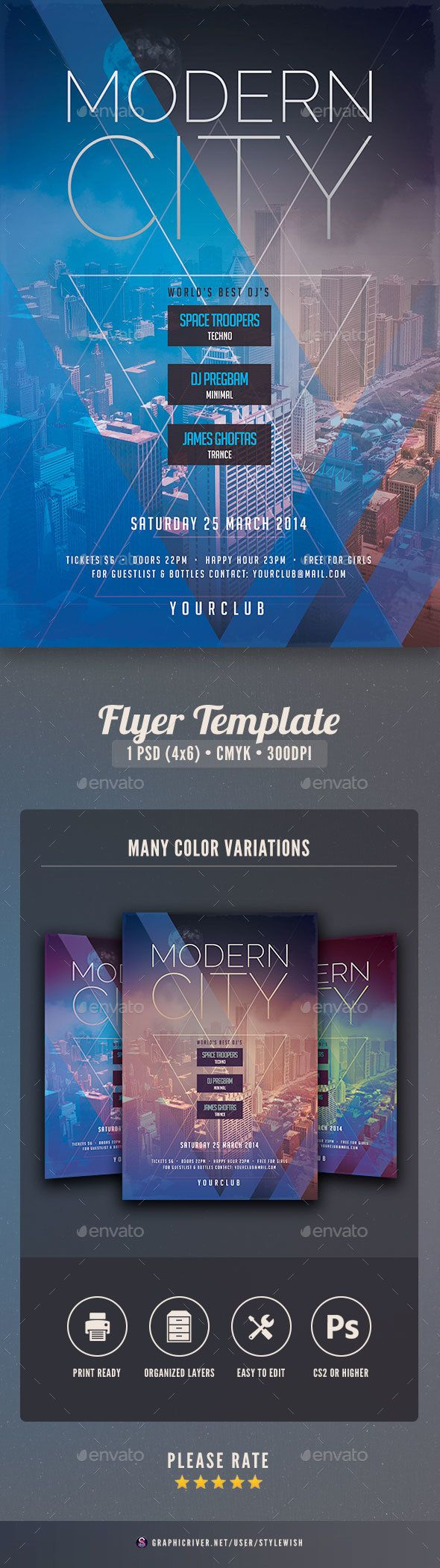 This flyer template is designed with the city as main inspiration. The bold colors and shapes fit well with the bustle of the city. You can use this flyer for all types of events: a famous club party, an underground dance party, an urban music event, an old school rave session, an alternative music festival, a minimal dj set… With this poster design you are ready to pull in crowds!