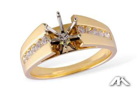 14kt Yellow Gold Mounting For A 1ct 2ct Center Diamond