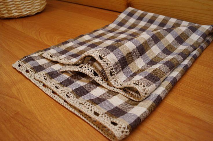 Linen Hand Towels Handmade Crochet laceKitchen от DiamondWoodMaks
