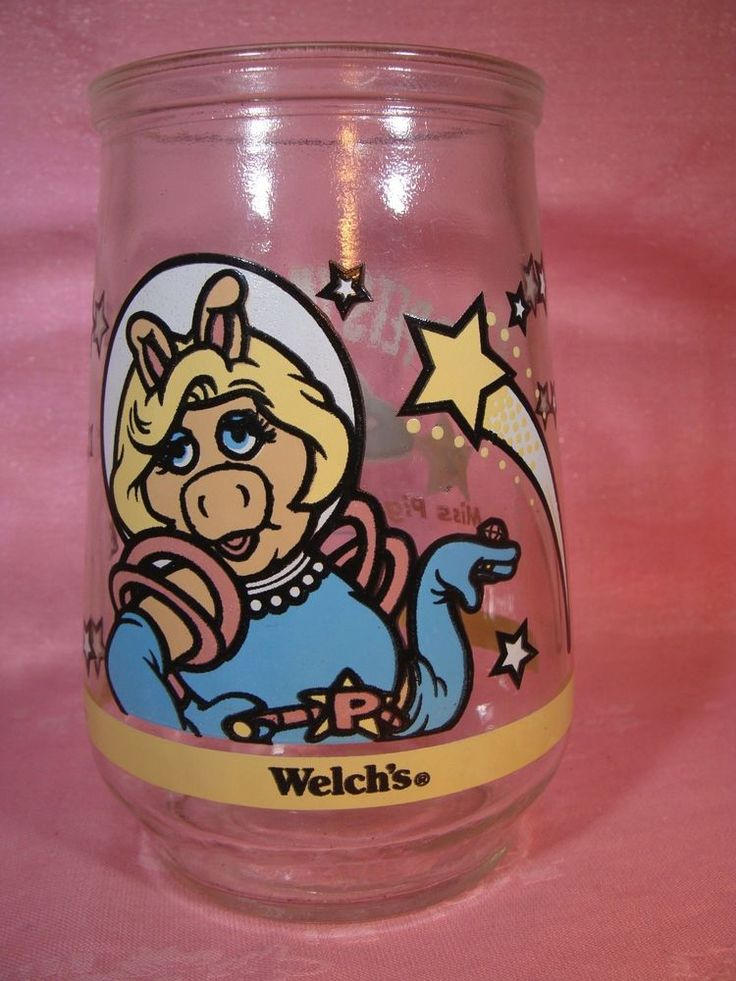 Collectible Welch's # 2 Miss Piggy Muppets In Space Glass jar