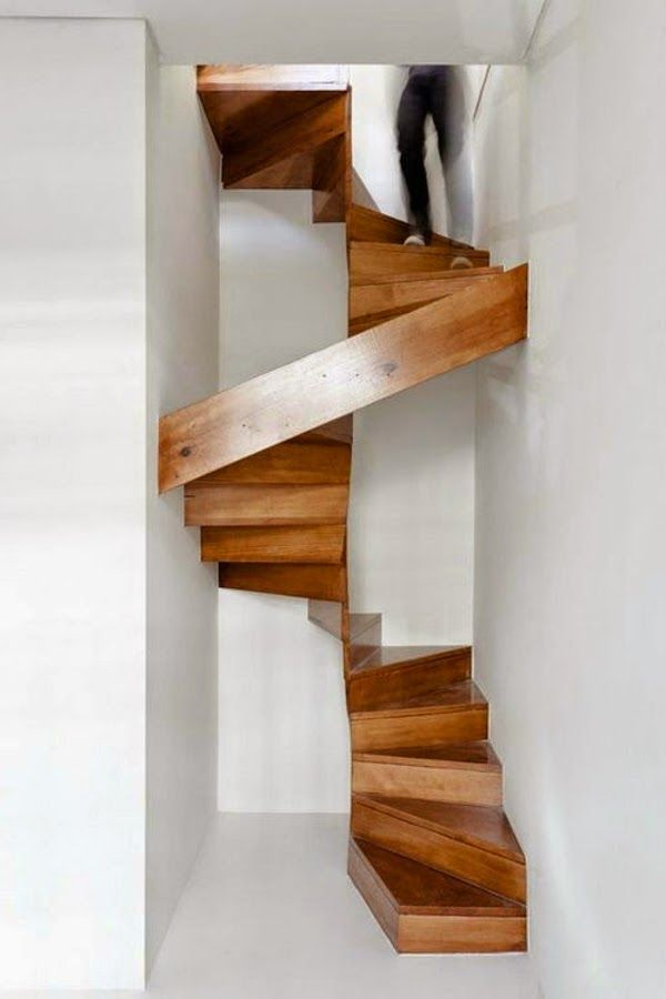 wooden space saving stairs for very small spaces