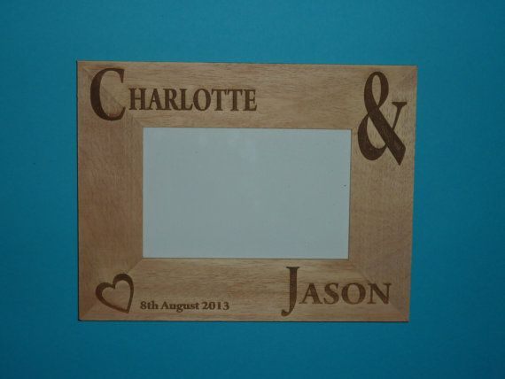 Personalised Engraved Wedding Photo Frame by WoodenPhotoMemories. Wedding Present 1st Anniversary Wood.