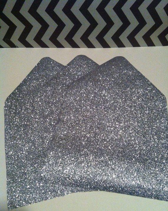 $108.24 80 A7 or Square Silver Glitter Wedding by glitterandribbon on Etsy