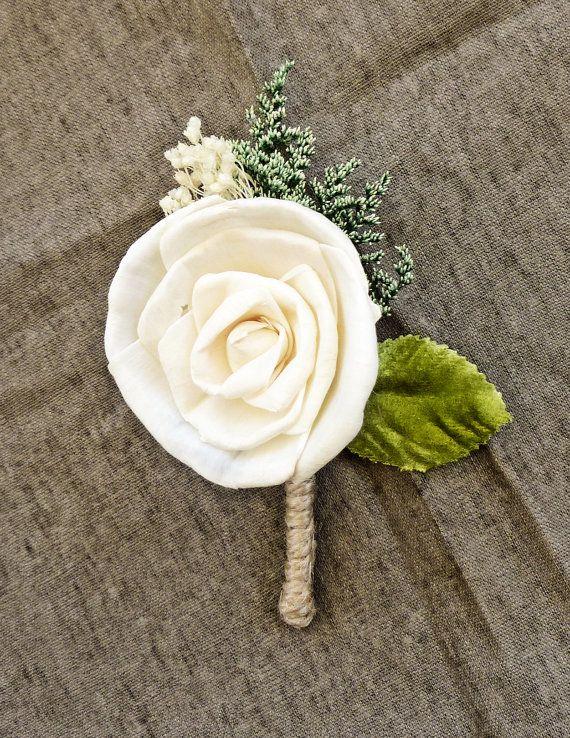 Ivory Boutonniere Made to Order- Groom Wedding, Buttonhole, Groomsmen, Sola Flower, Wedding, Wedding Flowers via Etsy