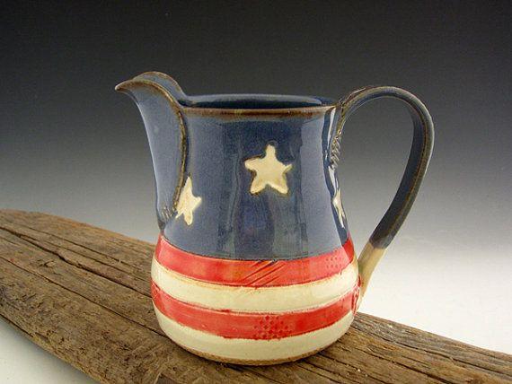 Americana Pitcher - Pottery Pitcher - Old Glory Flag - Serving Pitcher - by DirtKicker Pottery on Etsy, $40.00