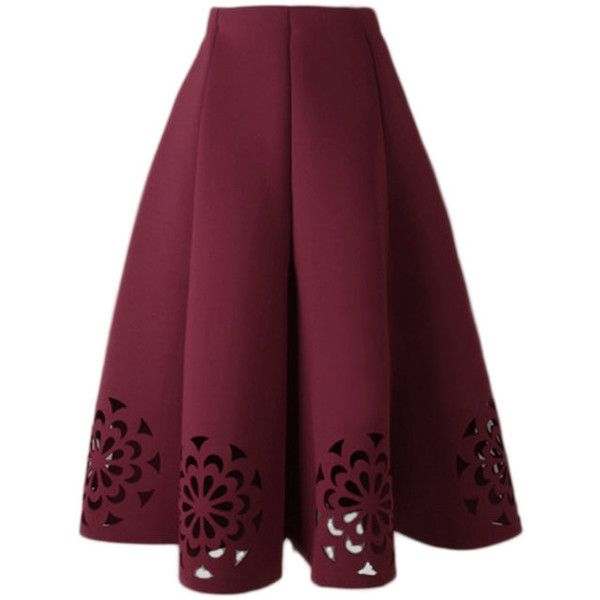Yoins Burgundy Midi Full Skirt With Cut Flowers Hem (42 AUD) ❤ liked on Polyvore featuring skirts, burgundy, floral midi skirt, mid calf skirts, burgundy midi skirt, purple skirt and floral knee length skirt