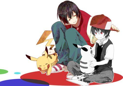 Red and Piku, Ash and pikachu
