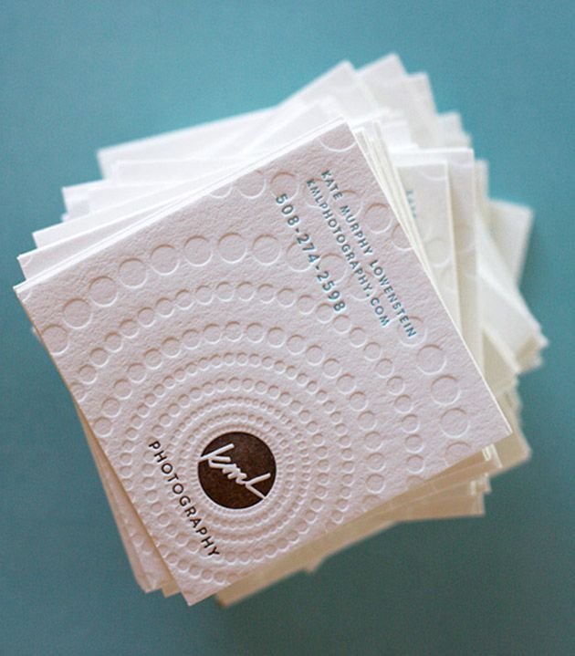 Love this. Square embossed business card.
