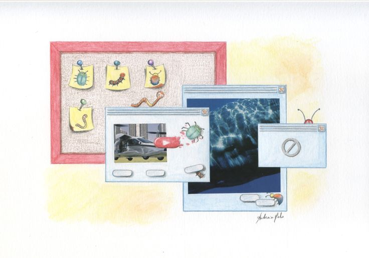 Illustration of software testing - color pencil and watercolor - Author: Andreia Melo