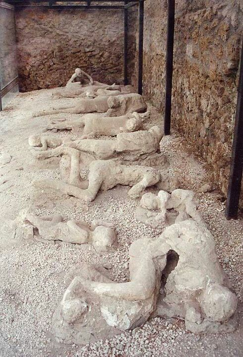 Remains:  Casts of #bodies in Pompeii, Italy, a city that didn't have time to evacuate prior to the catastrophic eruption of Mount Vesuvius, so its people were killed instantly by the heat, then buried by volcanic ash.