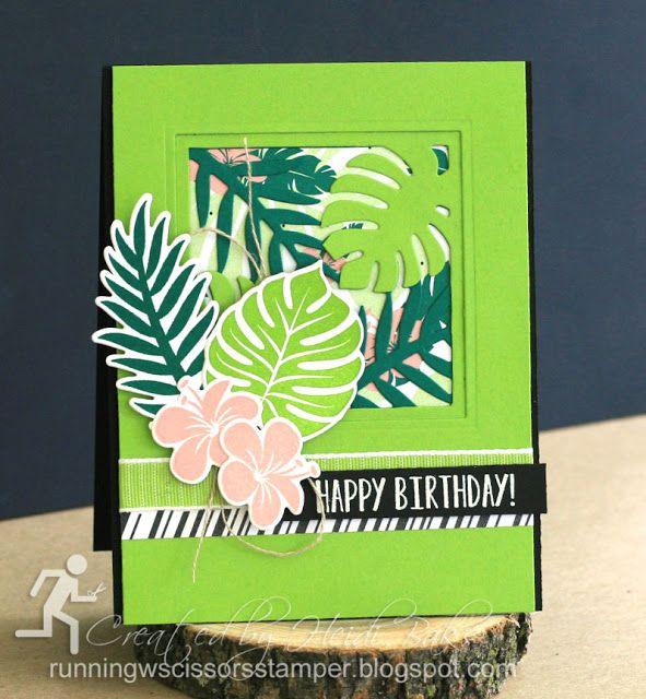 Stampin' Up Tropical Chic by #RunningwScissorsStamper, Tropical Escape DSP, Tropical Thinlits