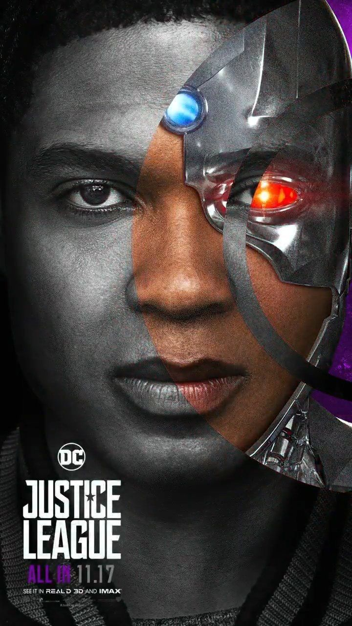Justice League Movie Poster 2017 Featuring Close up of Cyborg aka Victor Stone played by Ray Fisher - DigitalEntertainmentReview.com