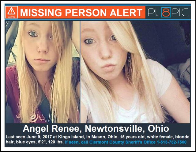 "Angel Renee  Unique mark of the missing person:   Race: white Hair: blonde Eyes: blue  City/state last seen:   Mason, Ohio, United States  Date missing person was last seen:   June 9, 2017  Police department that is investigating:   Clermont County Sheriff's Office  Police contact number:   1-513-732-7500  Height:   5'2"" 120 lbs."