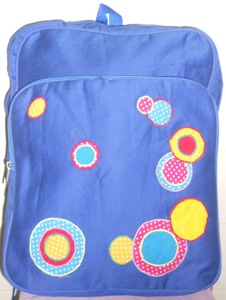 the circles backpack  made from jeans laptop case inside