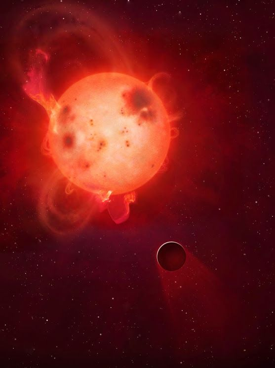 Powerful eruptions from it's host star may have stripped away the Earth - like exoplanet Kepler - 438b's atmosphere rendering the world uninhabitable , a new study suggests