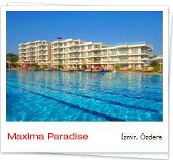 Maxima Paradise ---> #izmir , #ozdere ---->Tesis Özdere'ye 5 Km, İzmir'e 58 Km, İzmir Havaalanına 45 Km, Denize Sıfır Mesafede Yer Almaktadır.    Tesiste A'La Carte Restoran, Açık Yüzme Havuzu, Çamaşırhane Hizmetleri, Doktor, Kuaför, Kapalı Yüzme Havuzu, Market, Bilardo, Basketbol, Disco, Futbol Sahası, Hamam, Mini Futbol, Masa Tenisi, Plaj Voleybolu, Sauna, Voleybol Hizmet Vermektedir.    #Anitur Erken rezervasyon fırsatları için bağlantıyı takip edin .!