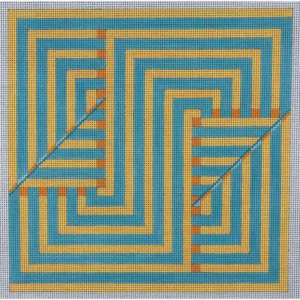 Alice Peterson Needlepoint - Blue & Gold Geometric