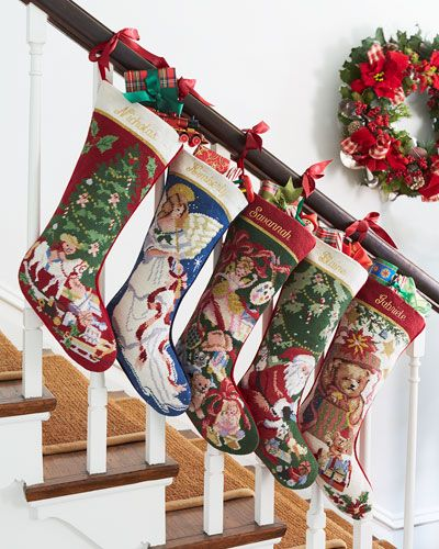 84 best christmasss images on pinterest christmas deco for Hang stockings staircase