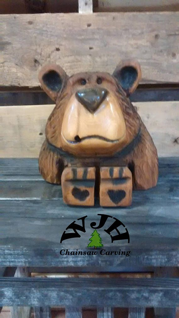 Chainsaw carved bear cub earl anything with wood pinterest
