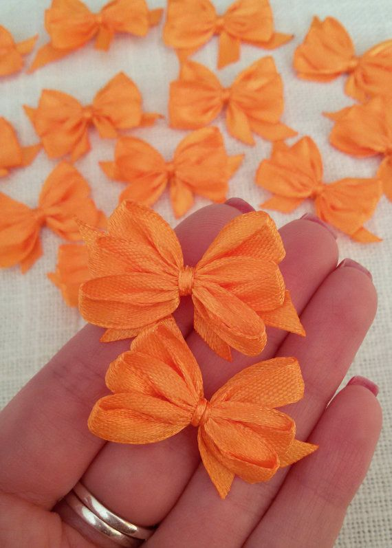 Orange ribbon bows satin bows gift tag bows satin by Rocreanique on Etsy