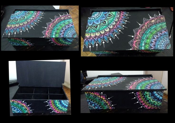Caja de té pintada con técnica zentangle y puntillismo