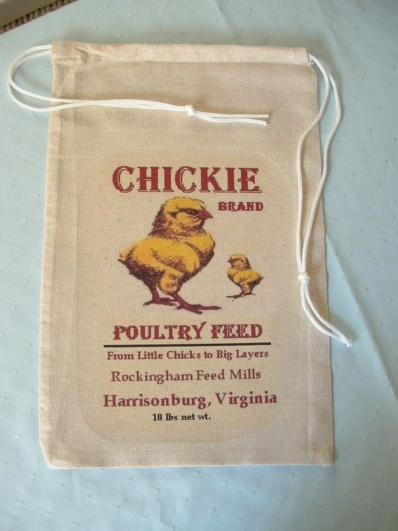 Novelty Feed Sack Bag, Chickie Brand Poultry Feed, Harrisonburg, VA, collectable, framable