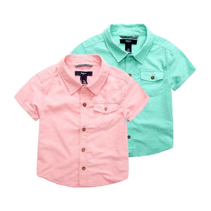 男童短袖衬衫夏 儿童棉麻男孩精品童装纯色翻领 宝宝亚麻半袖衬衣-淘宝网