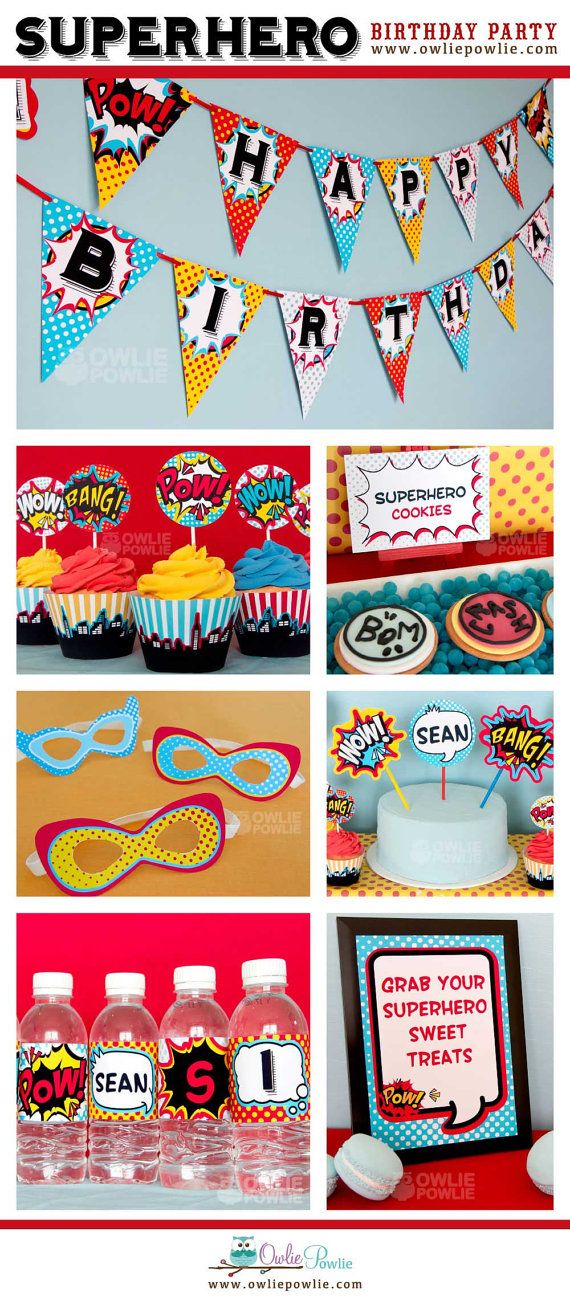 Superhero BIRTHDAY Party Printable Package & por OwliePowlie