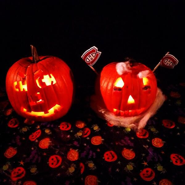 Montreal Canadiens Alex galchenyuk and Brendan Gallagher carved these pumpkins for #HockeyHalloween.
