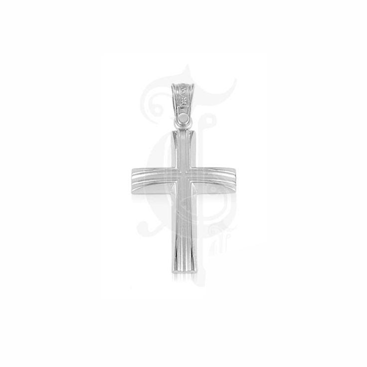 Ένας μοντέρνος βαπτιστικός σταυρός για αγόρι ΤΡΙΑΝΤΟΣ από λευκόχρυσο Κ14 σε γυαλιστερό φινίρισμα με εσωτερικό λούκι ματ | Σταυροί βάπτισης ΤΣΑΛΔΑΡΗΣ στο Χαλάνδρι #βαπτιστικός #σταυρός #βάπτισης #Τριάντος #αγόρι