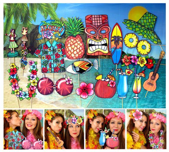 READY MADE Hawaii Summer Luau Aloha photo booth props perfect