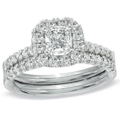 1-1/4 CT. T.W. Cushion-Cut Diamond Frame Bridal Set in 14K White Gold