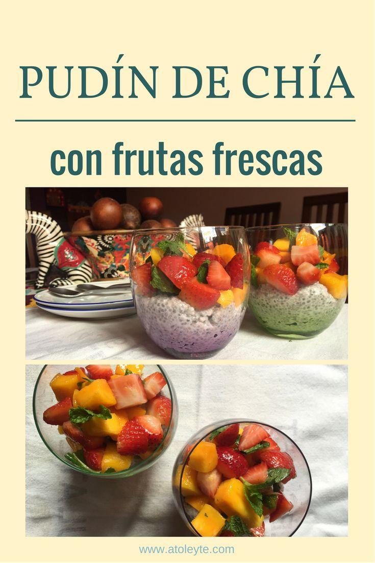Receta de desayuno rápido y saludable: pudín de chia con frutas frescas, fresa, mango