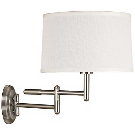 Kenroy Home Theta Brushed Steel Plug In Swing Arm Wall Light