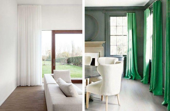 Enfärgade gardiner, mönstrade gardiner. Pampiga gardiner som faller tungt, eller lättare gardiner som silar ljuset. Här är 15 exempel på vackra gardiner för ditt vardagsrum.