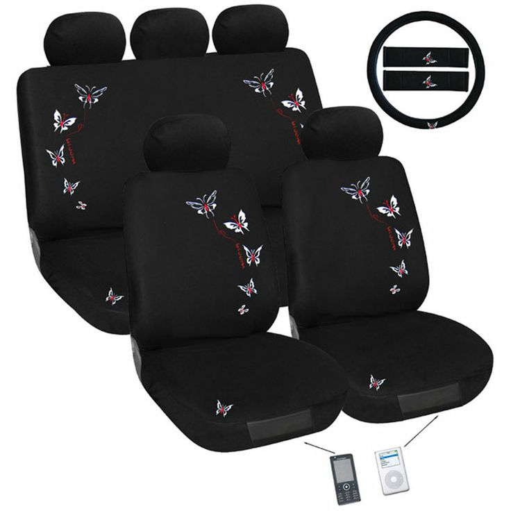 Butterfly Car Seat Cover Set Universal Fit #seatcovers1st #steering wheel cover #seatbeltpads